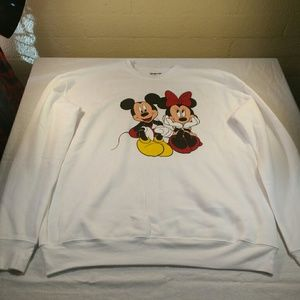 Mickey and Minnie Mouse Sweater. White. Size Large